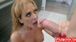 Satisfying my blonde Step Mom in the bathroom