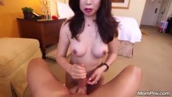 Chinese mom rides a cock in the hotel during vacation